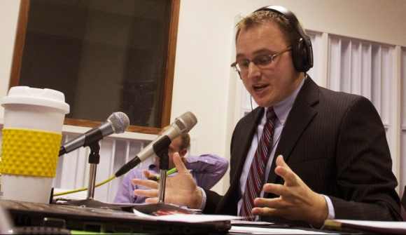Moderating a debate between Indiana's candidates for Superintendent of Public Instruction, a statewide elected position, in October 2012. (Photo from Meg Little)
